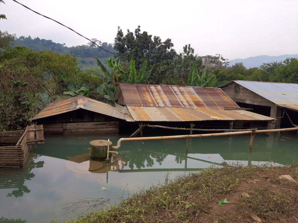 A house in Campur, Guatemala underwater from Hurricanes Eta and Iota. Image by Osmin Teni and Nelson Pacay.